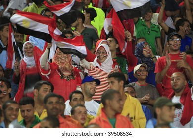 ALEXANDRIA, EGYPT - SEPTEMBER 24:  Egyptian fans cheer prior to the opening match of the FIFA U-20 World Cup soccer tournament between Egypt and Trinidad September 24, 2009 in Alexandria, Egypt.