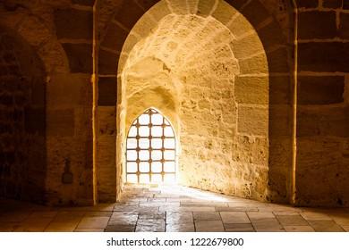 Alexandria, Egypt-October 2018 : Interiors of Qaitbay Citadel in Alexandria, Egypt.