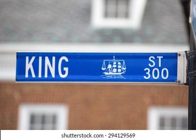 Alexandria king street blue sign detail