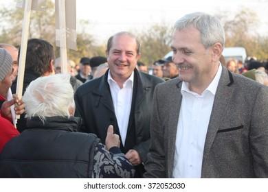 ALEXANDRIA, TELEORMAN, ROMANIA - DECEMBER 2, 2012: Liviu Nicolae Dragnea, prominent member of Social Democratic Party, meeting people in town square, during the Romanian legislative election campaign.