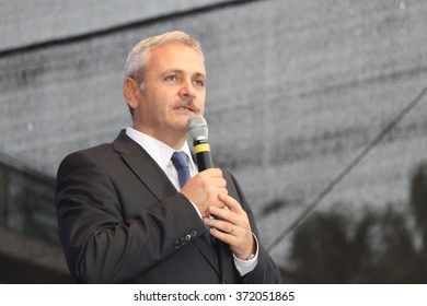 ALEXANDRIA, TELEORMAN, ROMANIA - NOVEMBER 27, 2012: Liviu Nicolae Dragnea, prominent member of Social Democratic Party, on stage during the Romanian legislative election campaign.