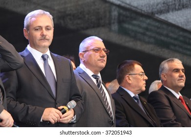 ALEXANDRIA, TELEORMAN, ROMANIA - NOVEMBER 27, 2012: Liviu Nicolae Dragnea, prominent member of Social Democratic Party, on stage during the Romanian legislative election campaign.