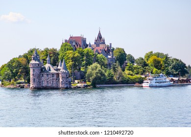ALEXANDRIA, USA - August 24, 2012: Historic Boldt Castle in the 1000 Islands region of New York State on Heart Island in St. Lawrence River. Construction started in 1900 by millionaire George Boldt.