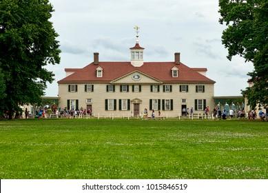 Alexandria, VA - June 23, 2017: Tourists wait in line to tour George Washington's historic home at Mount Vernon.