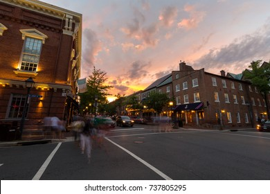 Alexandria, Virginia - 29 July, 2017: Old Town Alexandria on a summer evening at sunset.