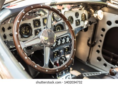 ALEXANDRIA, VIRGINIA / USA - 19 MAY 2019: Close up of the interior of a 1936 Ford Aerosport classic vintage car at the Old Town Festival of Speed and Style.