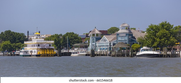 ALEXANDRIA, VIRGINIA, USA - JUNE 4, 2017: Old Town Alexandria, Potomac RIver waterfront.