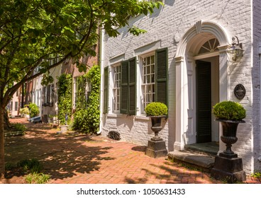 ALEXANDRIA, VIRGINIA, USA - MAY 12, 2009: Historic houses on Queen Street in Old Town.