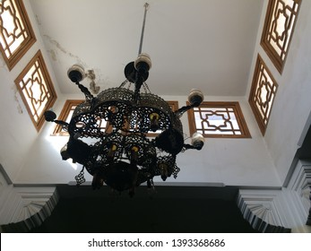 "Alexandria/Egypt-January-7-2019:Chandelier in the Prophet Daniel Mosque ""Prophet Daniel historical  street in Alexandria"",The Prophet Daniel Mosque was built in Alexandria in 1790 AD."