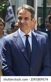 ALEXANDROUPOLI, GREECE-MAY 14, 2018: Greek Leader of New Democracy party Kyriakos Mitsotakis.Selebration Of Alexandroupoli Independence Day Parade.