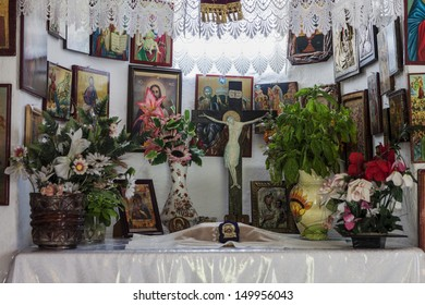 ALEXANDROUPOLIS, GREECE - OCTOBER 12: Interior church of prophet Ilias with Byzantines iconographies in the interior of Prophet Ilias, on October 12, 2012 in Alexandroupolis.