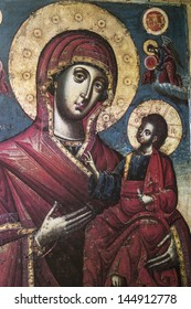 ALEXANDROUPOLIS, GREECE - OCTOBER 12: The Virgin Mary and Jesus Christ as a child, a Byzantine iconography in the interior of Hagios Dimitrios, on October 12, 2012 in Alexandroupolis.