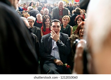Alexis Tsipras, head of radical leftist Syriza party, arrives to gives a speech during an election rally in Thessaloniki, Greece on Jan. 20, 2015.