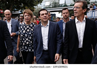 Alexis Tsipras, leader of Syriza party arrives to deliver a pre-election speech at the 80th Thessaloniki International Trade Fair in Thessaloniki, Greece on Sept. 6, 2015.