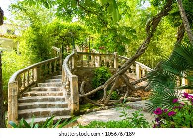 Alfabia nature relaxation park on Tramuntana mountain, Mallorca, Balearic Islands, Spain. Travel vacation concept