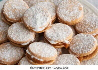 Alfajores: Traditional Peruvian cookies filled with caramel and white sugar dust on top.