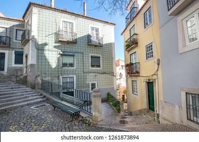 Alfama district in Lisbon/ Portugal- 12/21/2017: Beautiful typical old Lisbon neighborhood.