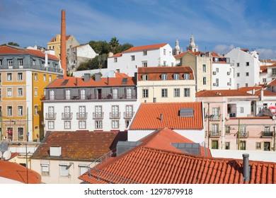 Alfama neighborhood houses and rooftops in Lisbon Portugal