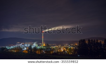 Alfeld, Germany - April 10, 2015: Panoramic night view of a medieval town Alfeld in Lower Saxony, Germany.