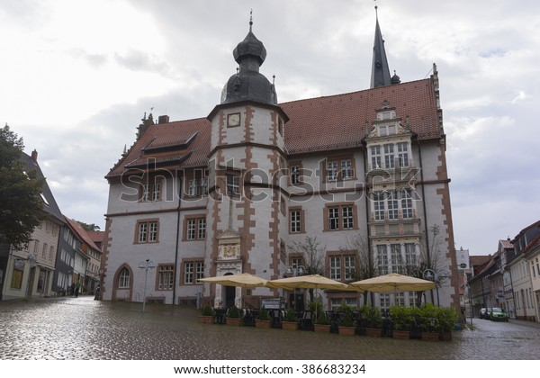 Alfeld, Germany - September 19 2014: Street view of a old town Alfeld in Lower Saxony, Germany. It is located on the Leine river on the German Timber-Frame Road.