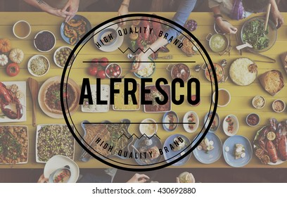Alfresco Food Party Outdoors Cuisine Catering Concept