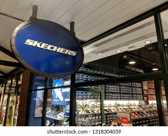 ALFRETON, UK - FEBRUARY 20, ‎2019: Sign and shop front of Skechers store at a designer retail outlet McArthur Glen Shopping Village, near Mansfield, UK