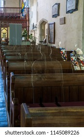 ALFRISTON, SUSSEX/UK - JULY 23 : Perspex Silhouetes of servicemen who laid down their lives in the first world war inside St Andrew's Church in Alfriston Sussex on July 23, 2018