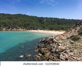 Algaiarens or also known as La Vall, Des Bot Beach. Beautiful beach in Menorca , Balearic Islands, Spain