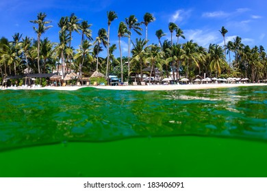 Algal bloom in a tropical ocean turning the normally blue sea to bright green