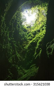 Algar do Carvao Cave on Terceira Island, Azores, Portugal