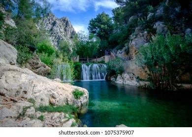 Algar Falls. Region Alicante Spain march 2018