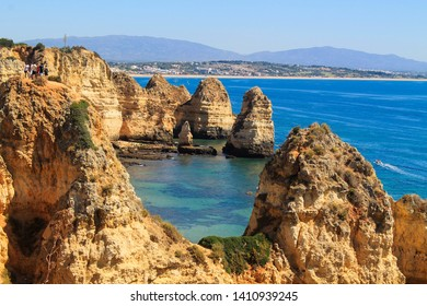 Algarve coast, Lagos sea and rocks in Portugal