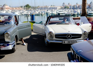 Algarve, Portugal - 8 July 2017: Retro Mercedes-Benz during classic car street race festival, Vilamoura outdoors background. Elegance and luxury lifestyle