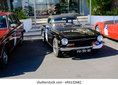 Algarve, Portugal - 8 July 2017: Classic car street race festival, Vilamoura sunny outdoors background. Elegance and luxury lifestyle