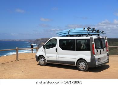 ALGARVE, PORTUGAL - JUNE 1, 2018: Surfer van Renault Trafic parked in Ferragudo. Coastal region of Algarve attracts more than 17 million tourists annually.