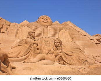 ALGARVE, PORTUGAL - JUNE 28: An exhibition of sand sculptures, A film about Egyptian Pharaohs, on june 28, 2008 in Algarve, Portugal. Life of sand sculptures some days, but art of adequately long life