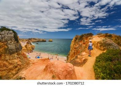 Algarve Rock Coast, colourful cliffs and rocks