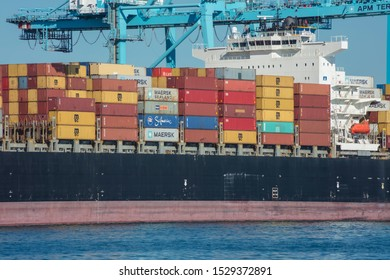 Algeciras port, Cadiz province, Spain; October/06/2019; APM Maersk Terminal Algeciras unloading containers of the vessel.
