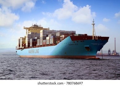 ALGECIRAS, SPAIN – AUGUST 15. The container ship MAERSK LEON anchored and waiting for enter in the port of Algeciras to load containers, on august 15, 2017 in Cadiz.