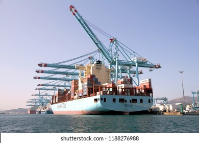 ALGECIRAS, SPAIN – AUGUST 18. Great container ship MAERSK LINS working with containers handling gantry cranes in the ATM Terminal in the port of Algeciras, on august 18, 2018 in Cadiz.