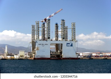ALGECIRAS, SPAIN – AUGUST 25. Automated platform for the construction of cement dikes and transport to different ports, on august 15, 2018 in Cadiz.
