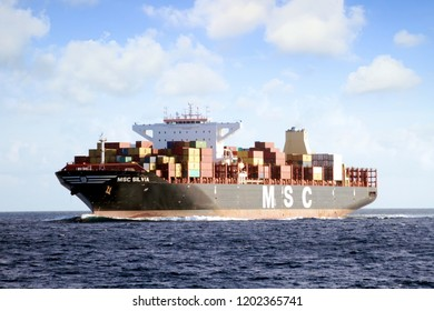 ALGECIRAS, SPAIN – AUGUST 25. Container ship MSC SILVIA sailing full ahead close of the port of Algeciras, on september 25, 2018 in Cadiz.