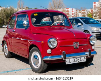 Algeciras, SPAIN – FEBRUARY 16, 2020 Restored Seat 600, Spanish Fiat 500 replica from the 60s
