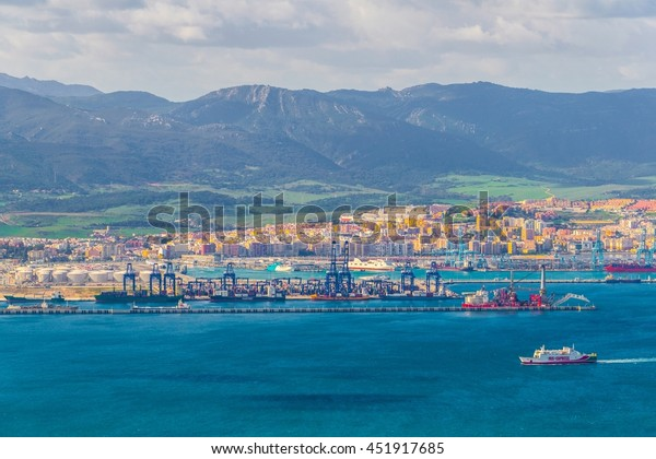 ALGECIRAS, SPAIN, JANUARY 5, 2016: Aerial view of the port of algeciras in spain.