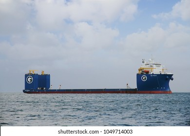 ALGECIRAS, SPAIN – MARCH 11. Heavy-lift ship GPO GRACE designed to move very large loads, anchored between the maritime traffic in Algeciras bay, on March 11, 2018 in Cadiz.