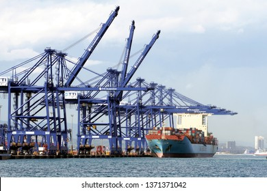 ALGECIRAS, SPAIN – MARCH 20, 2019. Great container ship MAERSK LAVRAS working with containers handling gantry cranes in the ITT Terminal in the port of Algeciras in Cadiz.