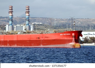 ALGECIRAS, SPAIN – MARCH 23, 2019. Iris Victoria petrol tanker anchored close to the port of Algeciras and the rock of Gibraltar, in Cadiz.