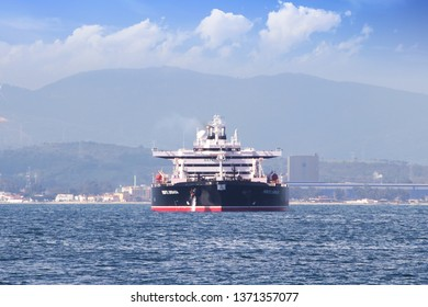 ALGECIRAS, SPAIN – MARCH 23, 2019. Monte Urbasa petrol tanker anchored close to the port of Algeciras and the rock of Gibraltar, in Cadiz.