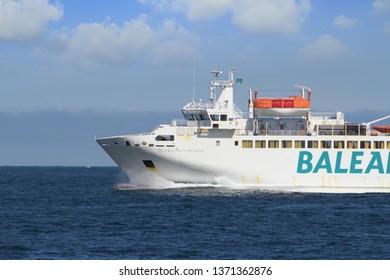 ALGECIRAS, SPAIN – MARCH 23, 2019. Ferry Passio per Formentera of Balearia Lines entering in Algeciras bay, in Spain.