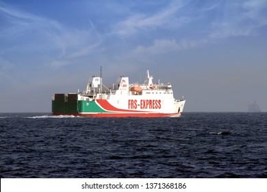 ALGECIRAS, SPAIN – MARCH 23, 2019. Ferry Poeta Lopez Anglada of Balearia Lines leaving Algeciras bay, in Spain.